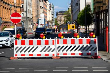 Road closed barrier construction Berlin