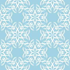White floral seamless pattern on blue background