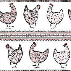 Vector chicken pattern