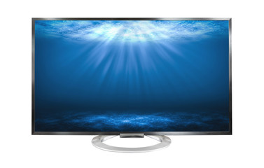 4k Television monitor Deep sea isolated on white background.