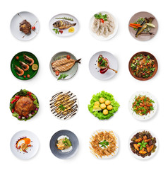 In de dag Klaar gerecht Collage of restaurant dishes isolated on white
