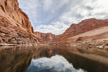 River amidst rocky mountains, Marble Canyon, Arizona, USA