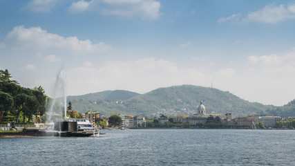 Lake fountains and mountains from Como Lake, Italy