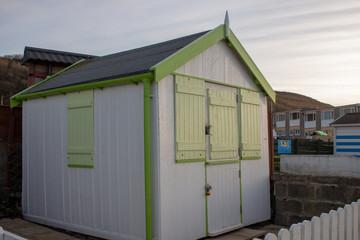Seaside beach hut.