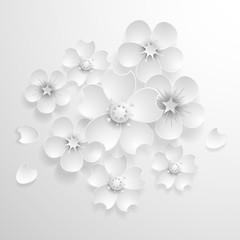 Paper art flower background. Origami flower. Vector stock