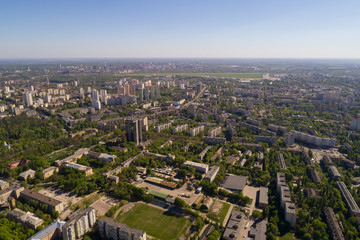 High-altitude aerial cityscape in spring. Kyiv, Ukraine.