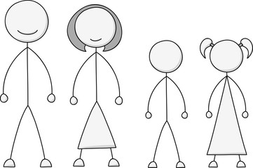 A cartoon of a stick figure family with a mother, father, male and female children.