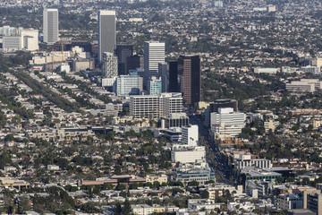 Aerial view of Wilshire Blvd Miracle Mile neighborhood in Los Angeles, California.