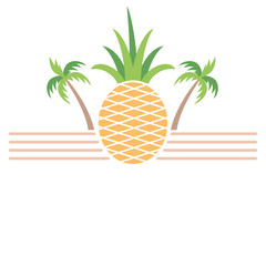 Pineapple and palm trees summer themed banner