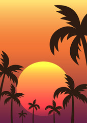 Sunset among palm trees tropical scene poster