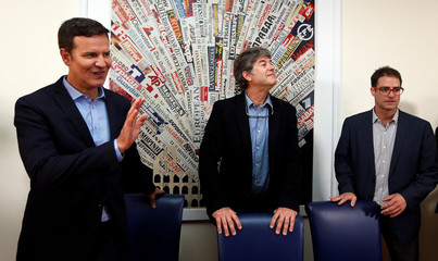 Three victims of clerical sexual abuse in Chile, Juan Carlos Cruz, James Hamilton and Jose Andres Murillo pose before a news conference at the Foreign Press in Rome