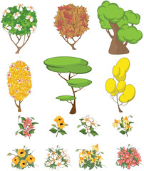 Foto auf Leinwand Babyzimmer Set of Garden Plants with Flowers for you Design and Computer Game