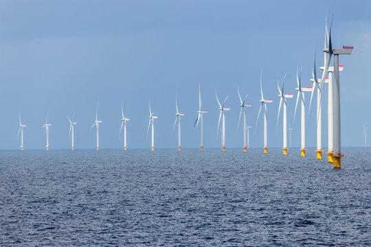 Offshore wind farm in the Kattegat sea outside Denmark.