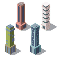 Vector set of isometric modern buildings in cartoon style. Urban skyscrapers for town exterior, architecture. Residential construction for cityscape concept