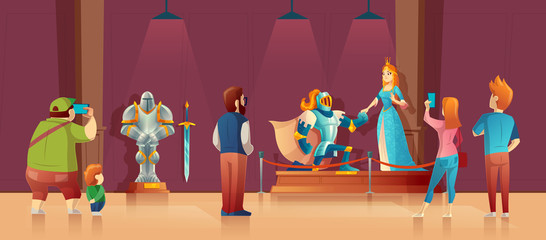 Vector museum with visitors, medieval exhibition. Armored knight with helmet, princess in blue silk dress as exhibits. Field trip in history, excursion in presentation hall. Showroom concept