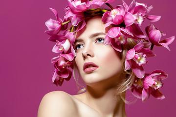 portrait in lilac flowers