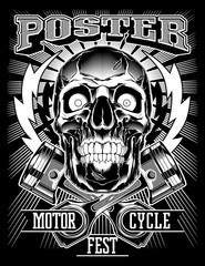 Vintage Biker Skull with lightning and Pistons