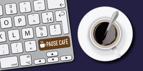 pause - pause café - café - détente - ordinateur - clavier - convivial - travail - entreprise - horaire