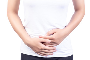 Asia woman with stomachache on white background.