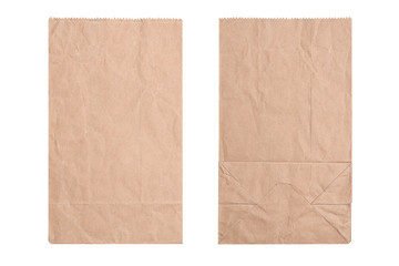 Brown paper bag, flat lay. New kraft paper bag laying flat front and back isolated white background and clipping path.
