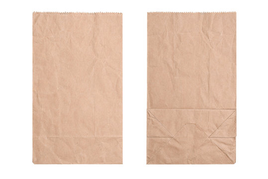 Brown paper bag, flat lay.