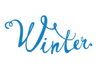 Winter. Hand written doodle word