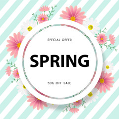 Spring sale background with beautiful flower,vector illustration template, banners, Wallpaper, invitation, posters, brochure, voucher discount.
