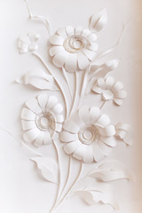 handmade bouquet of paper flowers on a background