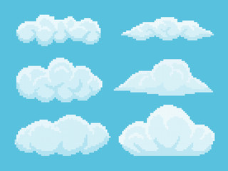 Set of pixel clouds on blue background. Old school computer graphic style.