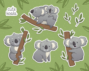 Cartoon gray koala in differet poses: sitting, climbing the tree, with a baby. Vector illustrations set on green background