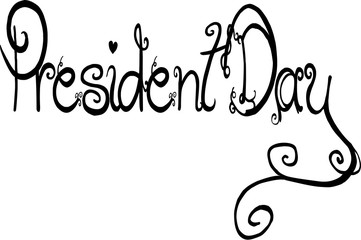 President Day text sign illustration