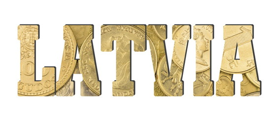 Latvia.  Shiny golden coins textures for designers. White isolate