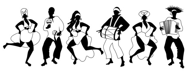 Group of men and women dancing and playing latin isolated on white background