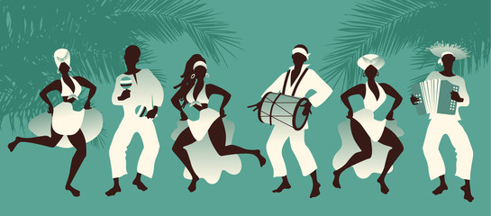 Group of men and women dancing and playing latin music on tropical background with palm trees