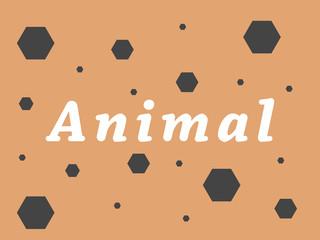 Animal inscription on an orange background, vector illustration