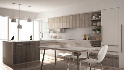 Modern minimalistic wooden kitchen with dining table, carpet and panoramic window, white architecture interior design