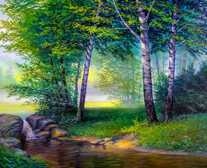 landscape painting of waterfall