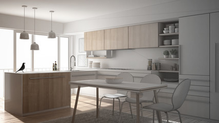 Unfinished project of modern minimalistic kitchen with dining table, carpet and panoramic window, architecture interior design