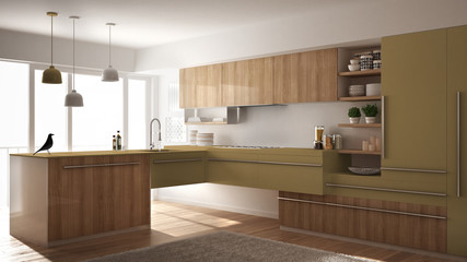 Modern minimalistic wooden kitchen with parquet floor, carpet and panoramic window, white and yellow architecture interior design
