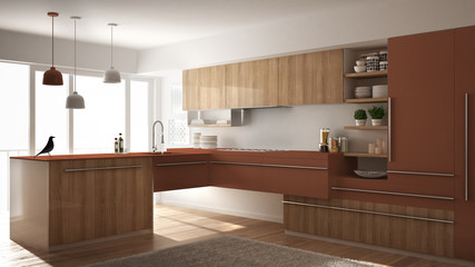 Modern minimalistic wooden kitchen with parquet floor, carpet and panoramic window, white and red architecture interior design