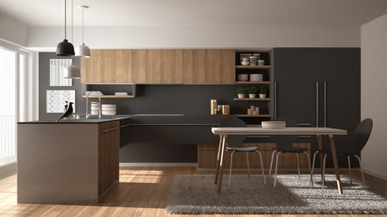 Modern minimalistic wooden kitchen with dining table, carpet and panoramic window, white and grey architecture interior design