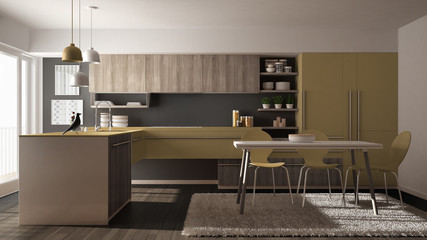 Modern minimalistic wooden kitchen with dining table, carpet and panoramic window, gray and yellow architecture interior design