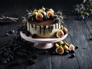 Fancy cake with fruit decoration