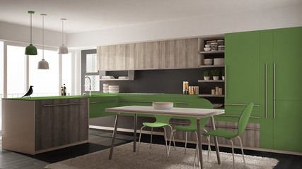 Modern minimalistic wooden kitchen with dining table, carpet and panoramic window, gray and green architecture interior design