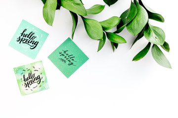 Spring lettering, spring motto. Lettering hello spring on stickers among green foliages on white table top view copy space