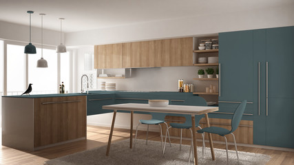 Modern minimalistic wooden kitchen with dining table, carpet and panoramic window, white and blue architecture interior design