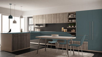 Modern minimalistic wooden kitchen with dining table, carpet and panoramic window, gray and blue architecture interior design