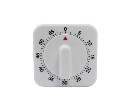 Egg timer / kitchen alarm clock in white plastic isoslated on white