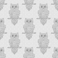 Seamless texture. Owl. Design Zentangle. Zen art. Dotted pattern. Geometric background. Abstract wallpaper of the surface. Print for polygraphy, posters, t-shirts and textiles. Doodle for design