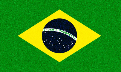 Illustration of a Brazilian flag with a blossom pattern